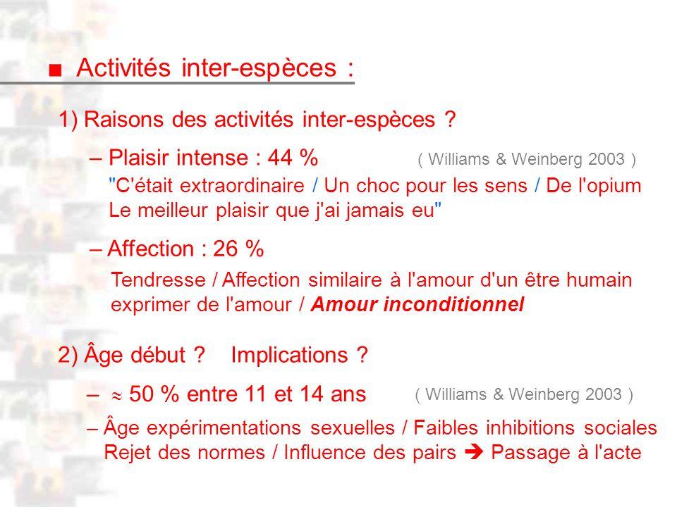 D2 : Introduction 2 : Généralité Activités inter-espèces : 1) Raisons des activités inter-espèces .