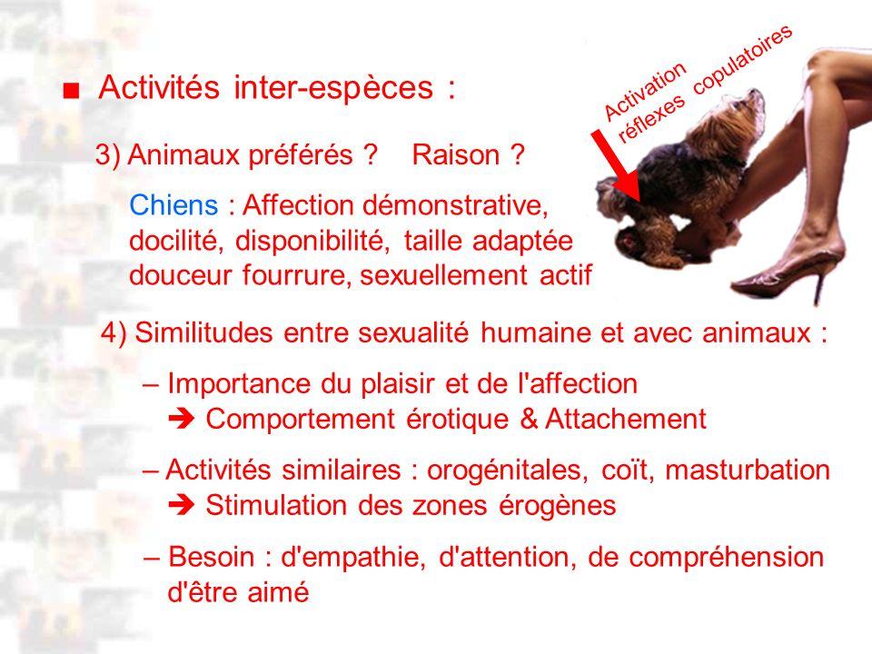 D2 : Introduction 2 : Généralité Activités inter-espèces : 3) Animaux préférés .