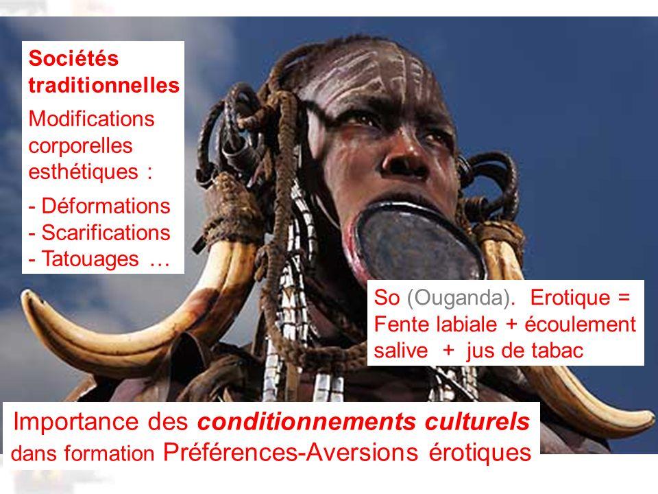 D80 : Modèles : Homme 20 : Développement & Dynamique 8 Importance des conditionnements culturels dans formation Préférences-Aversions érotiques Sociétés traditionnelles Modifications corporelles esthétiques : - Déformations - Scarifications - Tatouages … So (Ouganda).