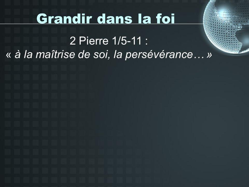 Grandir dans la foi 2 Pierre 1/5-11 : « à la maîtrise de soi, la persévérance… »