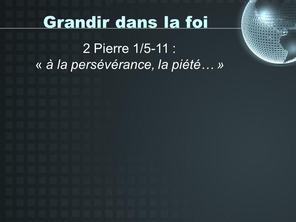 Grandir dans la foi 2 Pierre 1/5-11 : « à la persévérance, la piété… »