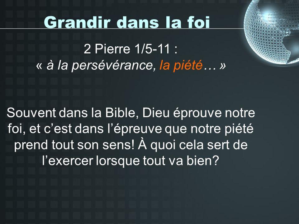 Grandir dans la foi 2 Pierre 1/5-11 : « à la persévérance, la piété… » Souvent dans la Bible, Dieu éprouve notre foi, et cest dans lépreuve que notre piété prend tout son sens.