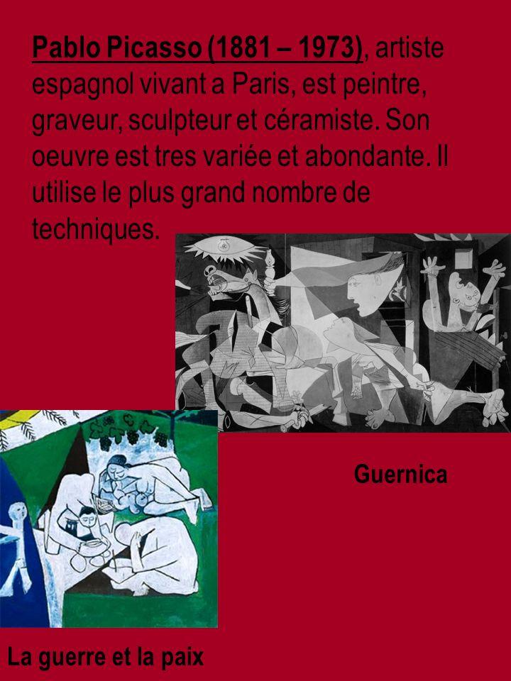 Pablo Picasso (1881 – 1973), artiste espagnol vivant a Paris, est peintre, graveur, sculpteur et céramiste.