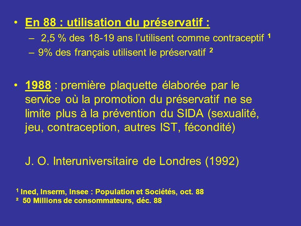 Registres1990199419901994variations Emotionnels Humour407012,7%19,5%+53% Amour24477,6%13,1%+72% Mort/Danger333610,5%10,0%= Vie/Avenir16315,1%8,6%+68% Solidarité4151,3%4,2%+320% Sexualité/Erotisme416513,0%18,1%+39% Prévention et Information Sida864427,3%12,3%-55% Argent070,0%1,9%NS Modes de transmission1534,8%0,8%- 80% M.S.T.220,6% = Drogue/Homosexualité1855,7%1,4%-75% Contraception120,3%0,6%= Divers Protection/Rationalité19206,0%5,6%= Ignorance/Risque1675,1%1,9%- 63% Religion050,0%1,4%NS Total315359100,0%