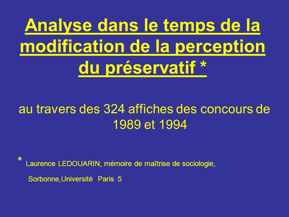 Analyse dans le temps de la modification de la perception du préservatif * au travers des 324 affiches des concours de 1989 et 1994 * Laurence LEDOUARIN, mémoire de maîtrise de sociologie, Sorbonne,Université Paris 5
