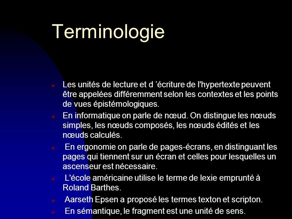 Terminologie n Les unités de lecture et d écriture de l hypertexte peuvent être appelées différemment selon les contextes et les points de vues épistémologiques.