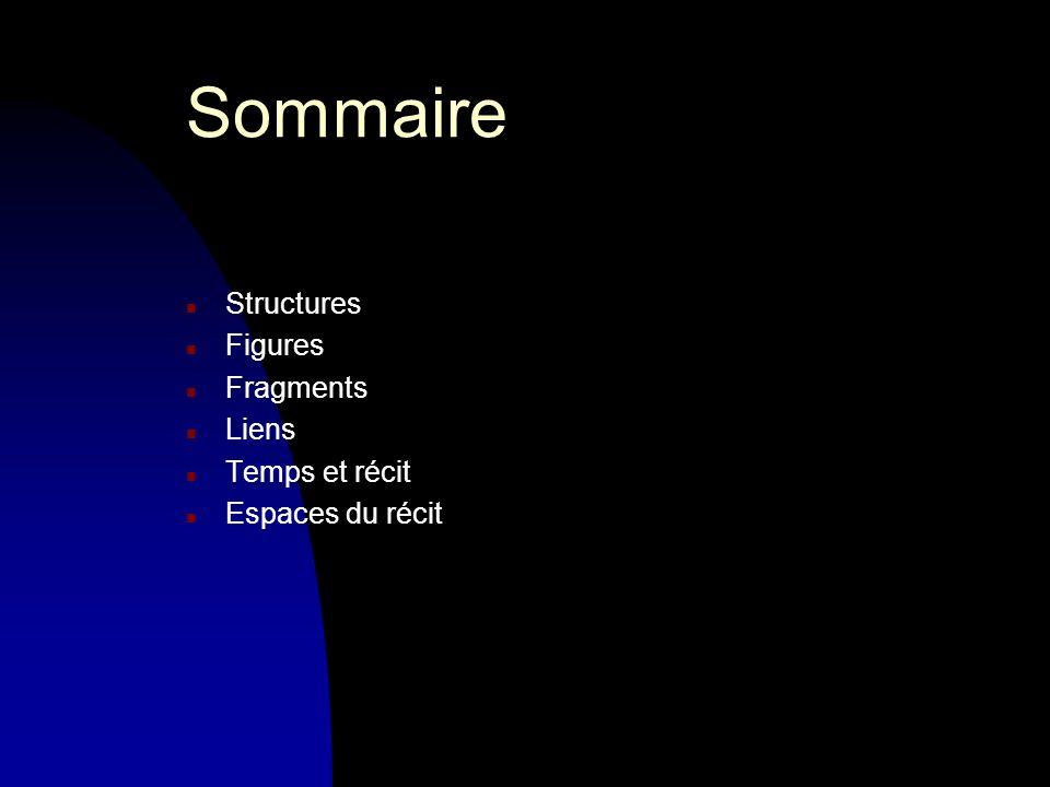 Sommaire n Structures n Figures n Fragments n Liens n Temps et récit n Espaces du récit