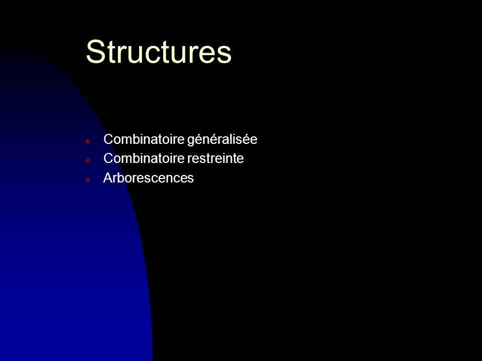 Structures n Combinatoire généralisée n Combinatoire restreinte n Arborescences