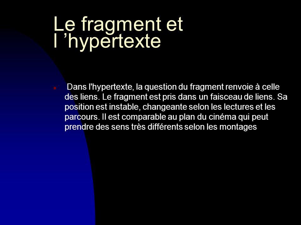 Le fragment et l hypertexte n Dans l hypertexte, la question du fragment renvoie à celle des liens.