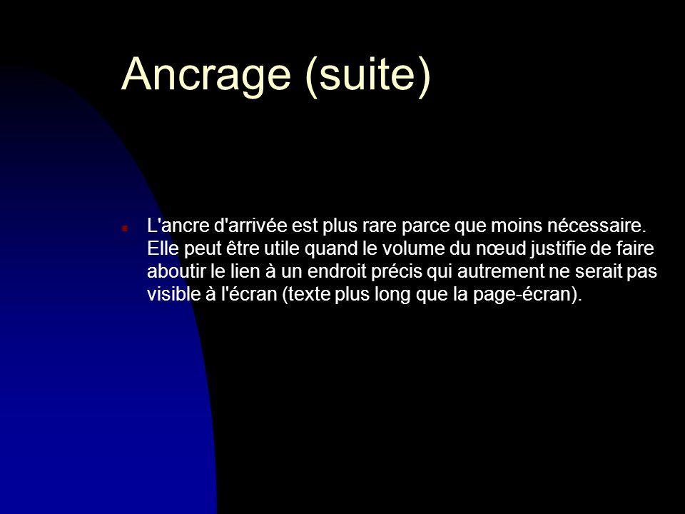 Ancrage (suite) n L ancre d arrivée est plus rare parce que moins nécessaire.