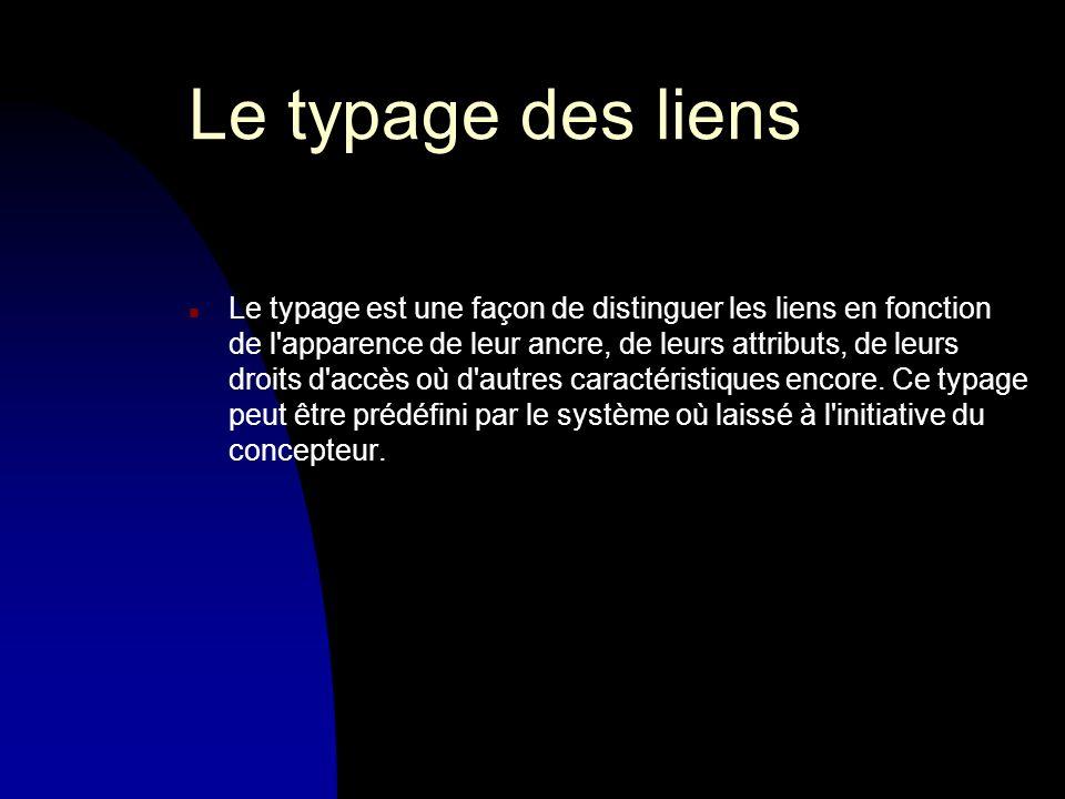 Le typage des liens n Le typage est une façon de distinguer les liens en fonction de l apparence de leur ancre, de leurs attributs, de leurs droits d accès où d autres caractéristiques encore.