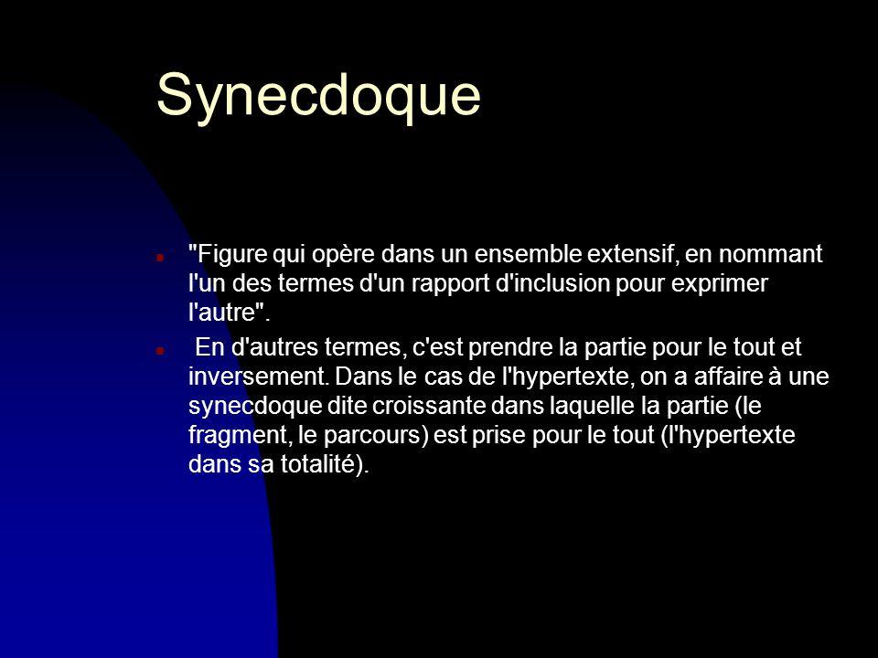 Synecdoque n Figure qui opère dans un ensemble extensif, en nommant l un des termes d un rapport d inclusion pour exprimer l autre .