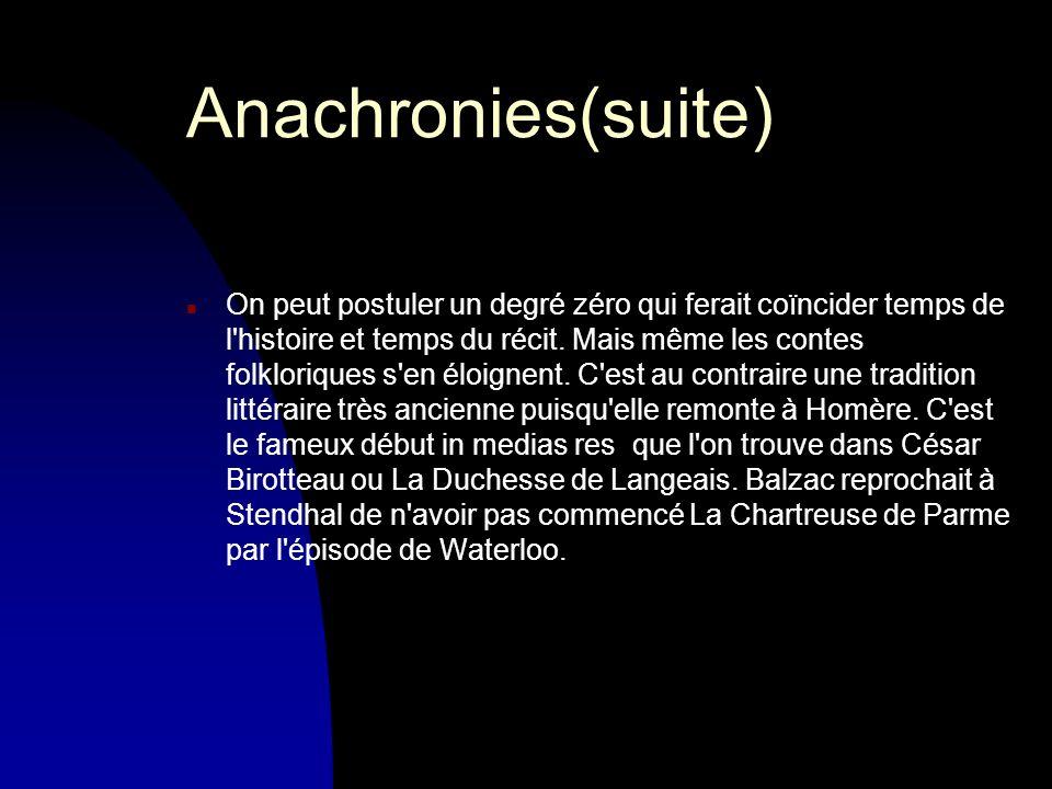 Anachronies(suite) n On peut postuler un degré zéro qui ferait coïncider temps de l histoire et temps du récit.