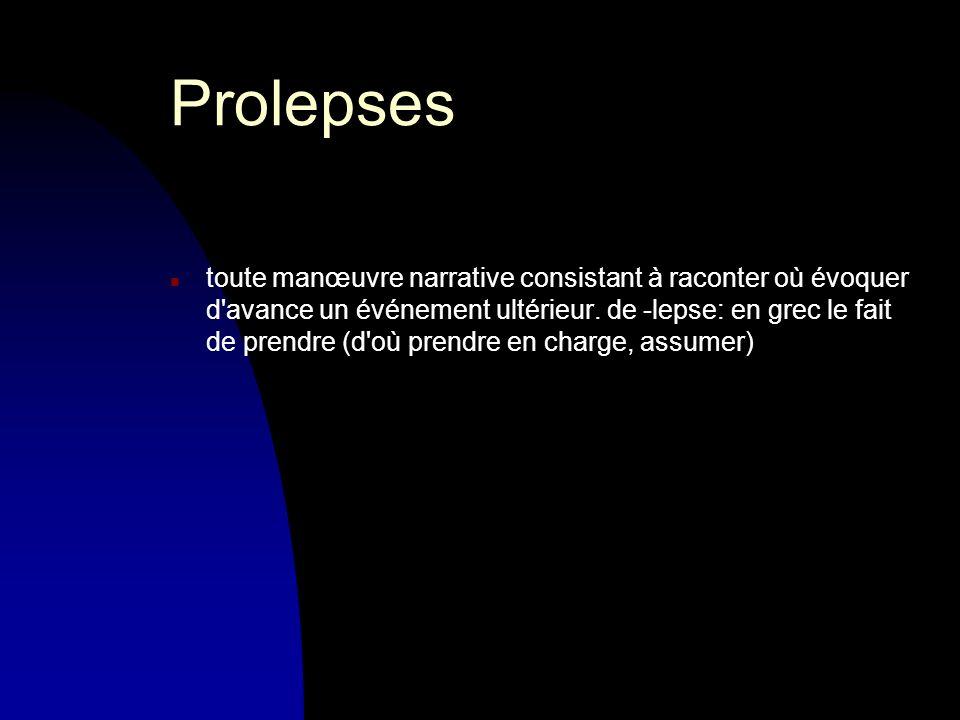 Prolepses n toute manœuvre narrative consistant à raconter où évoquer d avance un événement ultérieur.