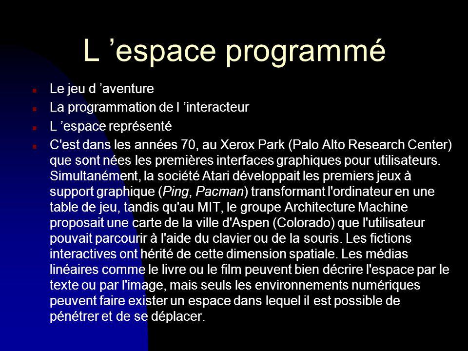 L espace programmé n Le jeu d aventure n La programmation de l interacteur n L espace représenté n C est dans les années 70, au Xerox Park (Palo Alto Research Center) que sont nées les premières interfaces graphiques pour utilisateurs.