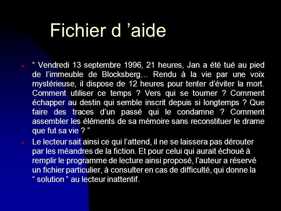 Fichier d aide n Vendredi 13 septembre 1996, 21 heures, Jan a été tué au pied de limmeuble de Blocksberg… Rendu à la vie par une voix mystérieuse, il dispose de 12 heures pour tenter déviter la mort.