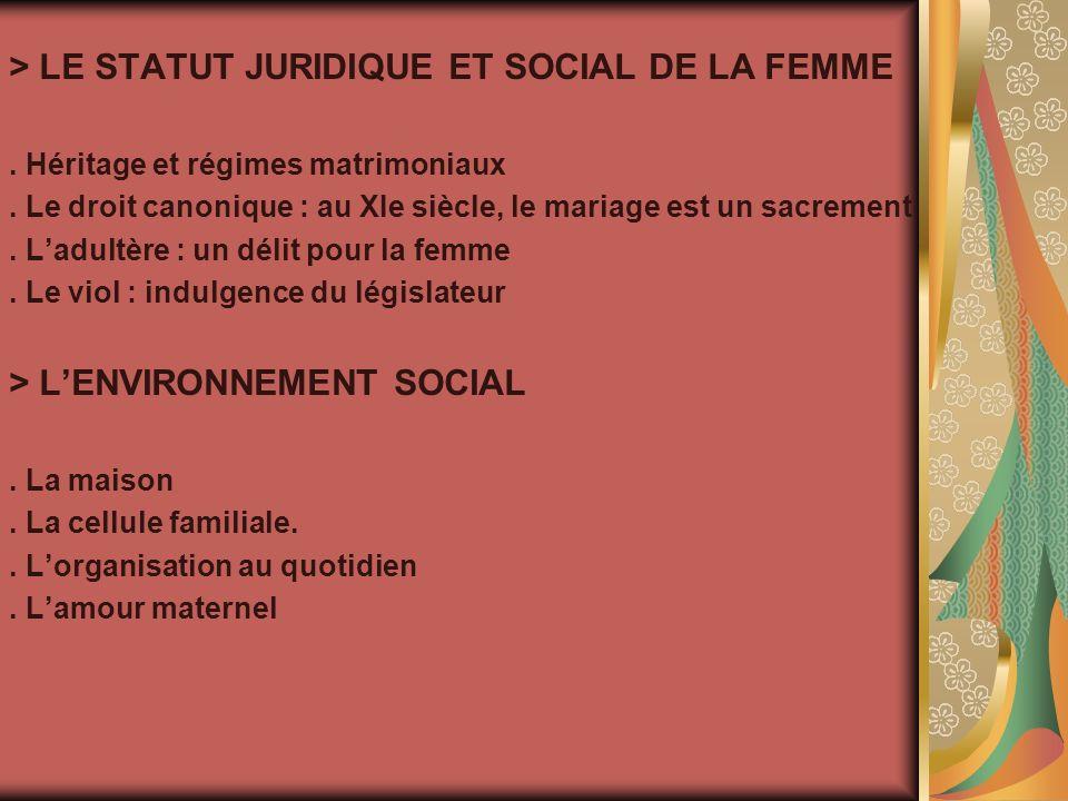> LE STATUT JURIDIQUE ET SOCIAL DE LA FEMME. Héritage et régimes matrimoniaux.