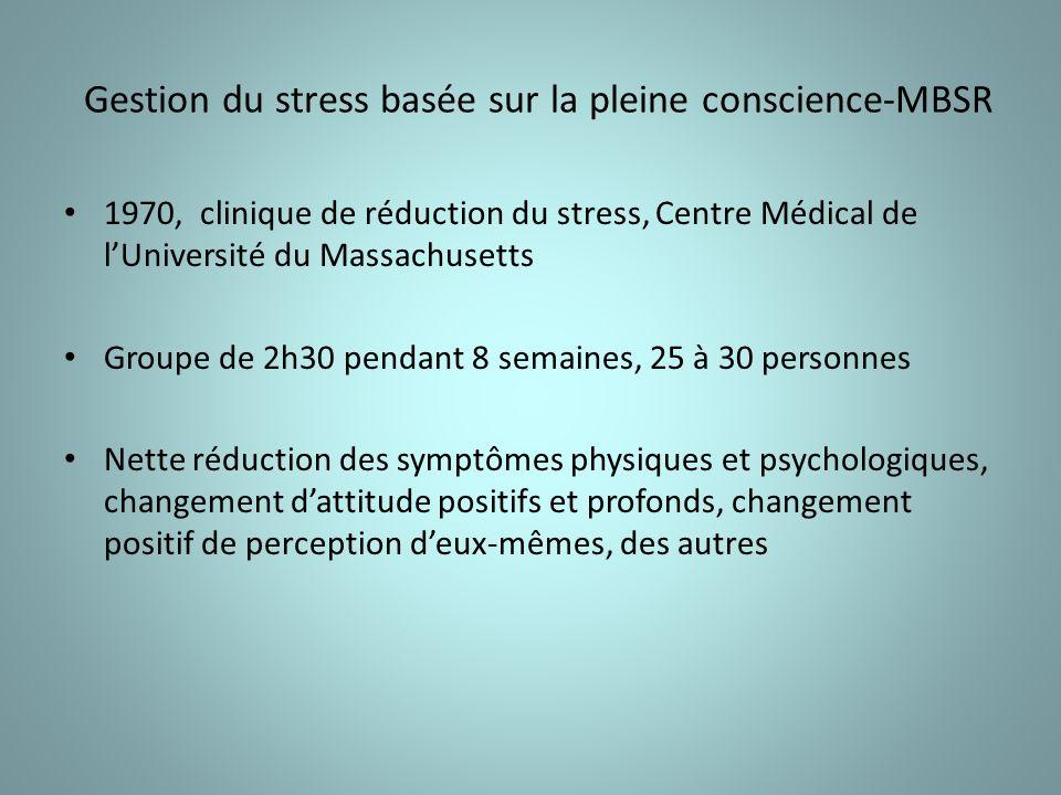 Gestion du stress basée sur la pleine conscience-MBSR 1970, clinique de réduction du stress, Centre Médical de lUniversité du Massachusetts Groupe de 2h30 pendant 8 semaines, 25 à 30 personnes Nette réduction des symptômes physiques et psychologiques, changement dattitude positifs et profonds, changement positif de perception deux-mêmes, des autres
