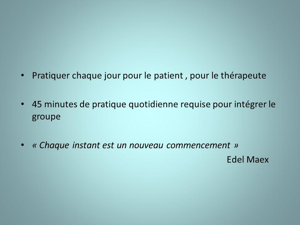 Pratiquer chaque jour pour le patient, pour le thérapeute 45 minutes de pratique quotidienne requise pour intégrer le groupe « Chaque instant est un nouveau commencement » Edel Maex
