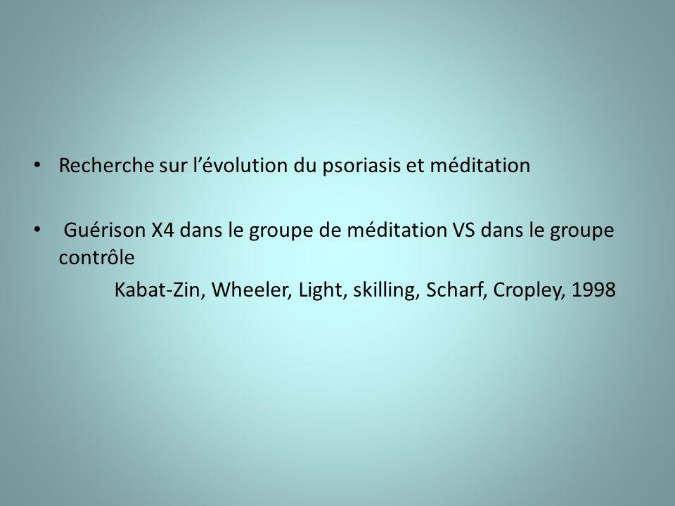 Recherche sur lévolution du psoriasis et méditation Guérison X4 dans le groupe de méditation VS dans le groupe contrôle Kabat-Zin, Wheeler, Light, skilling, Scharf, Cropley, 1998
