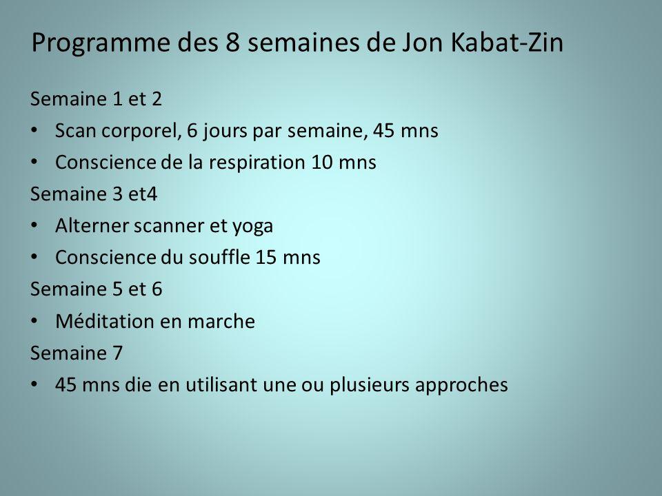 Programme des 8 semaines de Jon Kabat-Zin Semaine 1 et 2 Scan corporel, 6 jours par semaine, 45 mns Conscience de la respiration 10 mns Semaine 3 et4 Alterner scanner et yoga Conscience du souffle 15 mns Semaine 5 et 6 Méditation en marche Semaine 7 45 mns die en utilisant une ou plusieurs approches