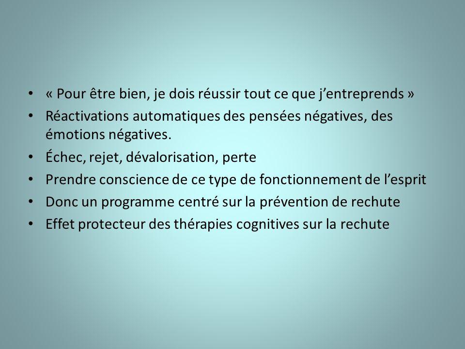 « Pour être bien, je dois réussir tout ce que jentreprends » Réactivations automatiques des pensées négatives, des émotions négatives.