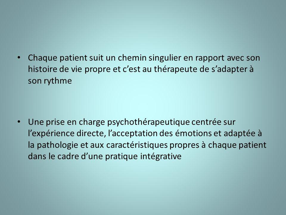 Chaque patient suit un chemin singulier en rapport avec son histoire de vie propre et cest au thérapeute de sadapter à son rythme Une prise en charge psychothérapeutique centrée sur lexpérience directe, lacceptation des émotions et adaptée à la pathologie et aux caractéristiques propres à chaque patient dans le cadre dune pratique intégrative