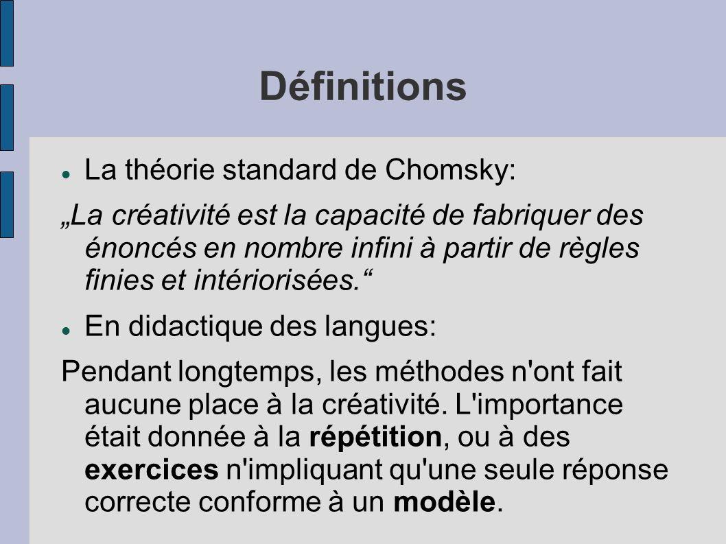 Définitions La théorie standard de Chomsky: La créativité est la capacité de fabriquer des énoncés en nombre infini à partir de règles finies et intériorisées.