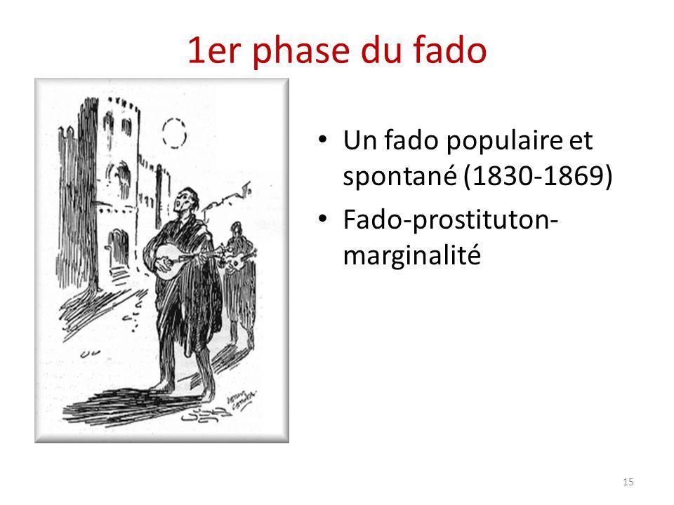 1er phase du fado Un fado populaire et spontané (1830-1869) Fado-prostituton- marginalité 15