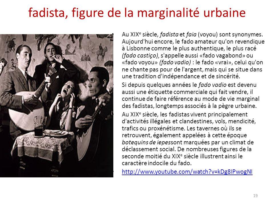 fadista, figure de la marginalité urbaine Au XIX e siècle, fadista et faia (voyou) sont synonymes.