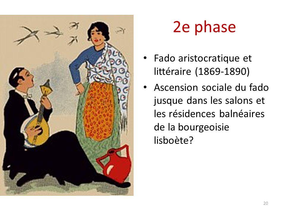 2e phase Fado aristocratique et littéraire (1869-1890) Ascension sociale du fado jusque dans les salons et les résidences balnéaires de la bourgeoisie lisboète.
