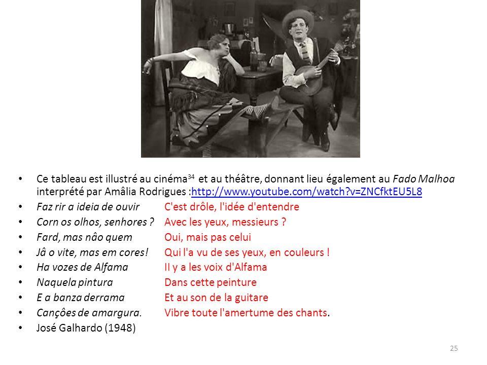 Ce tableau est illustré au cinéma 34 et au théâtre, donnant lieu également au Fado Malhoa interprété par Amâlia Rodrigues :http://www.youtube.com/watch v=ZNCfktEU5L8http://www.youtube.com/watch v=ZNCfktEU5L8 Faz rir a ideia de ouvirC est drôle, l idée d entendre Corn os olhos, senhores Avec les yeux, messieurs .