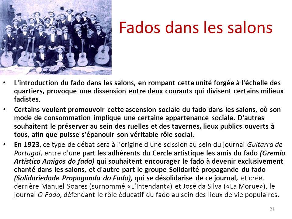 Fados dans les salons L introduction du fado dans les salons, en rompant cette unité forgée à l échelle des quartiers, provoque une dissension entre deux courants qui divisent certains milieux fadistes.