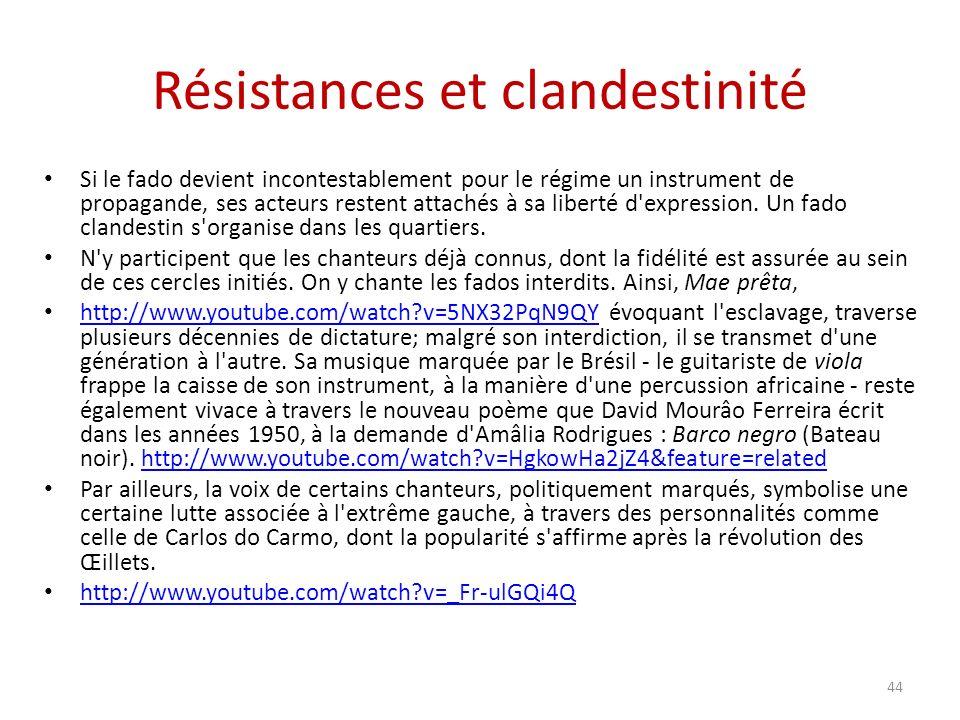 Résistances et clandestinité Si le fado devient incontestablement pour le régime un instrument de propagande, ses acteurs restent attachés à sa liberté d expression.