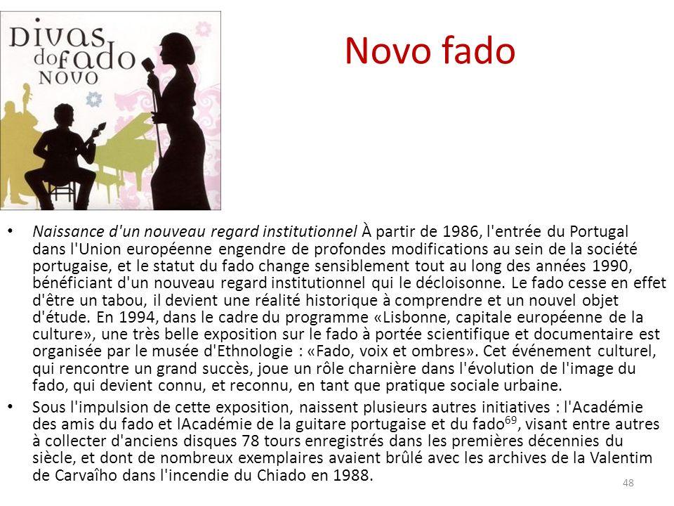Novo fado Naissance d un nouveau regard institutionnel À partir de 1986, l entrée du Portugal dans l Union européenne engendre de profondes modifications au sein de la société portugaise, et le statut du fado change sensiblement tout au long des années 1990, bénéficiant d un nouveau regard institutionnel qui le décloisonne.