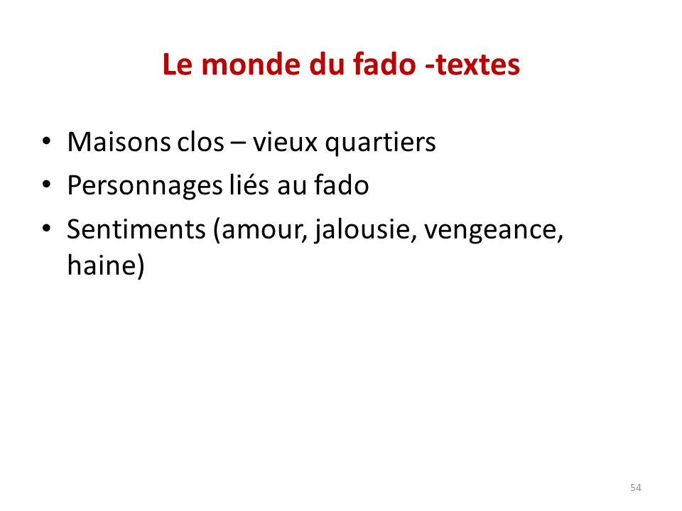 Le monde du fado -textes Maisons clos – vieux quartiers Personnages liés au fado Sentiments (amour, jalousie, vengeance, haine) 54