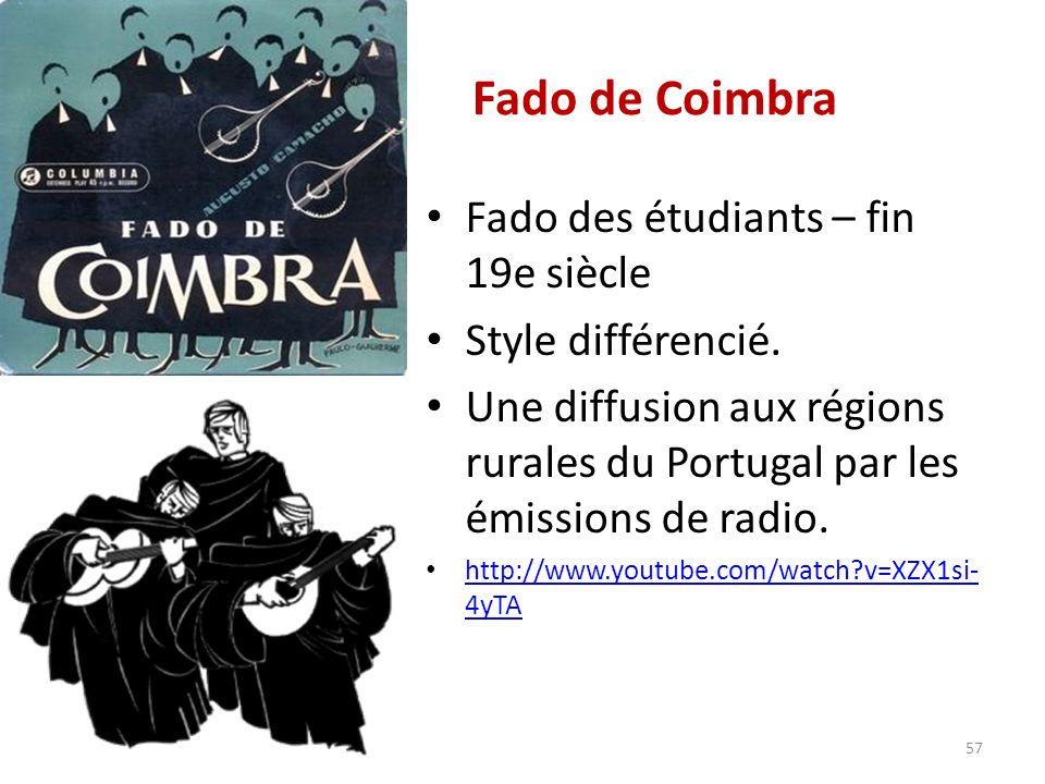 Fado de Coimbra Fado des étudiants – fin 19e siècle Style différencié.