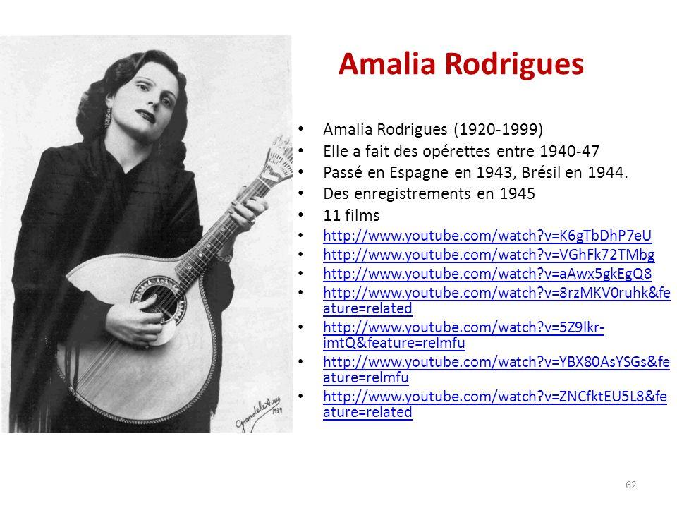 Amalia Rodrigues Amalia Rodrigues (1920-1999) Elle a fait des opérettes entre 1940-47 Passé en Espagne en 1943, Brésil en 1944.