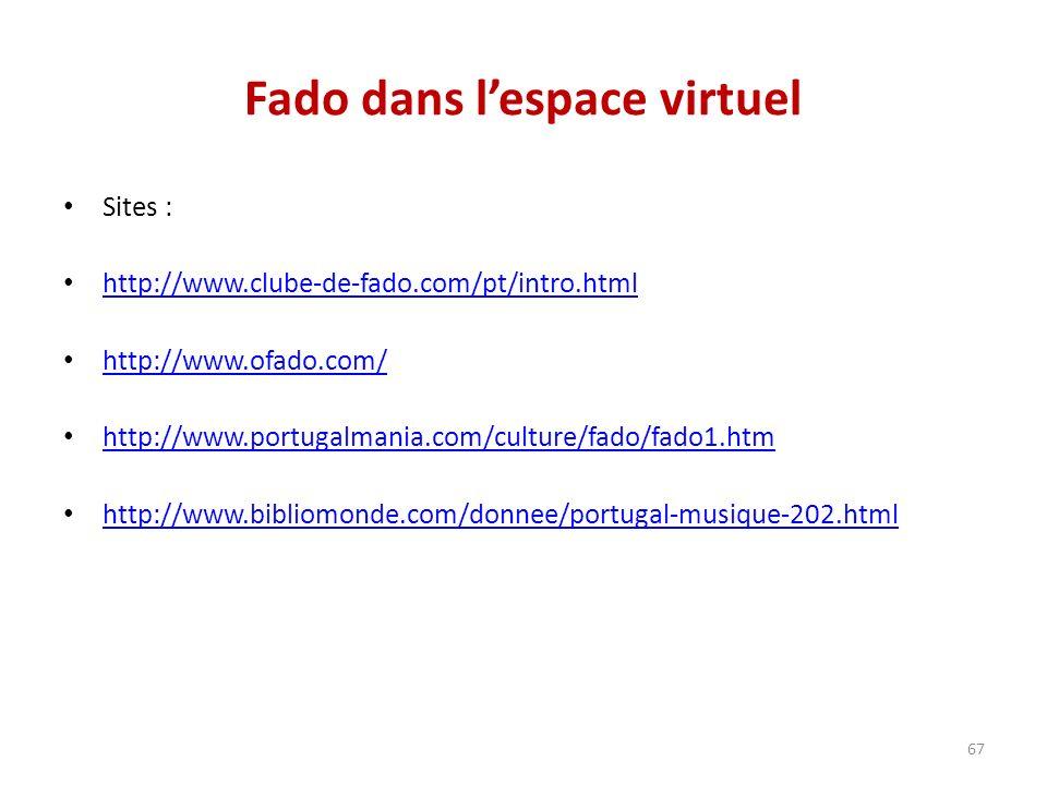 Fado dans lespace virtuel Sites : http://www.clube-de-fado.com/pt/intro.html http://www.ofado.com/ http://www.portugalmania.com/culture/fado/fado1.htm http://www.bibliomonde.com/donnee/portugal-musique-202.html 67