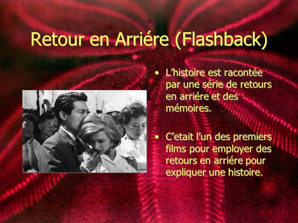 Retour en Arriére (Flashback) Lhistoire est racontée par une série de retours en arriére et des mémoires. Cetait lun des premiers films pour employer