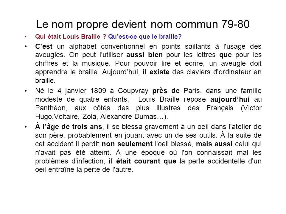 Le nom propre devient nom commun 79-80 Qui était Louis Braille .