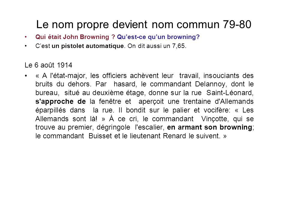 Le nom propre devient nom commun 79-80 Qui était John Browning .