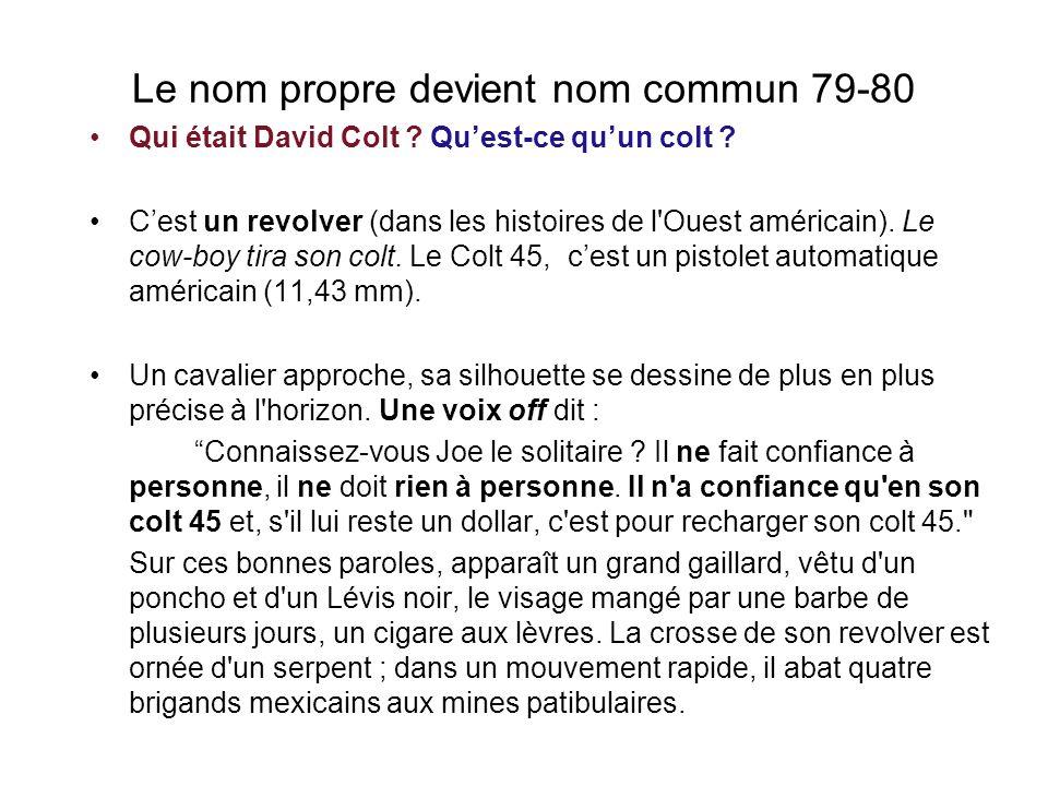 Le nom propre devient nom commun 79-80 Qui était David Colt .
