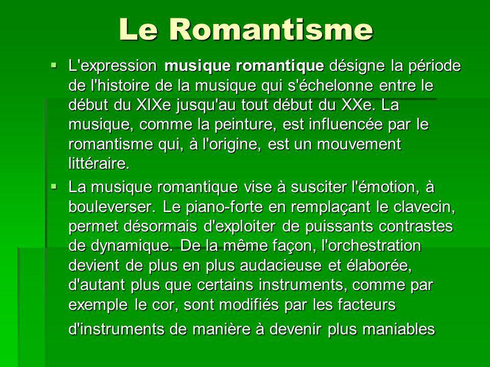 Le Romantisme L expression musique romantique désigne la période de l histoire de la musique qui s échelonne entre le début du XIXe jusqu au tout début du XXe.