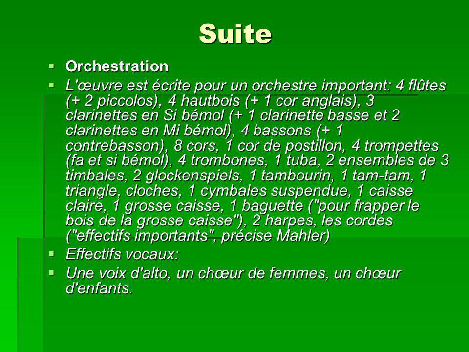 Suite Orchestration Orchestration L œuvre est écrite pour un orchestre important: 4 flûtes (+ 2 piccolos), 4 hautbois (+ 1 cor anglais), 3 clarinettes en Si bémol (+ 1 clarinette basse et 2 clarinettes en Mi bémol), 4 bassons (+ 1 contrebasson), 8 cors, 1 cor de postillon, 4 trompettes (fa et si bémol), 4 trombones, 1 tuba, 2 ensembles de 3 timbales, 2 glockenspiels, 1 tambourin, 1 tam-tam, 1 triangle, cloches, 1 cymbales suspendue, 1 caisse claire, 1 grosse caisse, 1 baguette ( pour frapper le bois de la grosse caisse ), 2 harpes, les cordes ( effectifs importants , précise Mahler) L œuvre est écrite pour un orchestre important: 4 flûtes (+ 2 piccolos), 4 hautbois (+ 1 cor anglais), 3 clarinettes en Si bémol (+ 1 clarinette basse et 2 clarinettes en Mi bémol), 4 bassons (+ 1 contrebasson), 8 cors, 1 cor de postillon, 4 trompettes (fa et si bémol), 4 trombones, 1 tuba, 2 ensembles de 3 timbales, 2 glockenspiels, 1 tambourin, 1 tam-tam, 1 triangle, cloches, 1 cymbales suspendue, 1 caisse claire, 1 grosse caisse, 1 baguette ( pour frapper le bois de la grosse caisse ), 2 harpes, les cordes ( effectifs importants , précise Mahler) Effectifs vocaux: Effectifs vocaux: Une voix d alto, un chœur de femmes, un chœur d enfants.