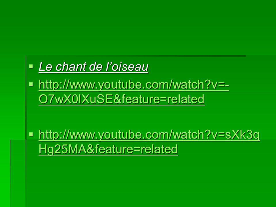 Le chant de loiseau Le chant de loiseau http://www.youtube.com/watch v=- O7wX0lXuSE&feature=related http://www.youtube.com/watch v=- O7wX0lXuSE&feature=related http://www.youtube.com/watch v=- O7wX0lXuSE&feature=related http://www.youtube.com/watch v=- O7wX0lXuSE&feature=related http://www.youtube.com/watch v=sXk3q Hg25MA&feature=related http://www.youtube.com/watch v=sXk3q Hg25MA&feature=related http://www.youtube.com/watch v=sXk3q Hg25MA&feature=related http://www.youtube.com/watch v=sXk3q Hg25MA&feature=related
