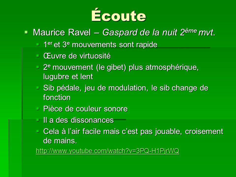 Écoute Maurice Ravel – Gaspard de la nuit 2 ème mvt.