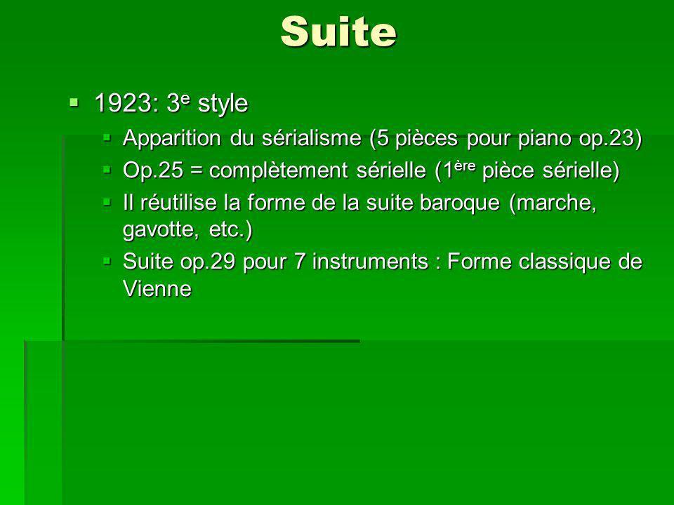 Suite 1923: 3 e style 1923: 3 e style Apparition du sérialisme (5 pièces pour piano op.23) Apparition du sérialisme (5 pièces pour piano op.23) Op.25 = complètement sérielle (1 ère pièce sérielle) Op.25 = complètement sérielle (1 ère pièce sérielle) Il réutilise la forme de la suite baroque (marche, gavotte, etc.) Il réutilise la forme de la suite baroque (marche, gavotte, etc.) Suite op.29 pour 7 instruments : Forme classique de Vienne Suite op.29 pour 7 instruments : Forme classique de Vienne