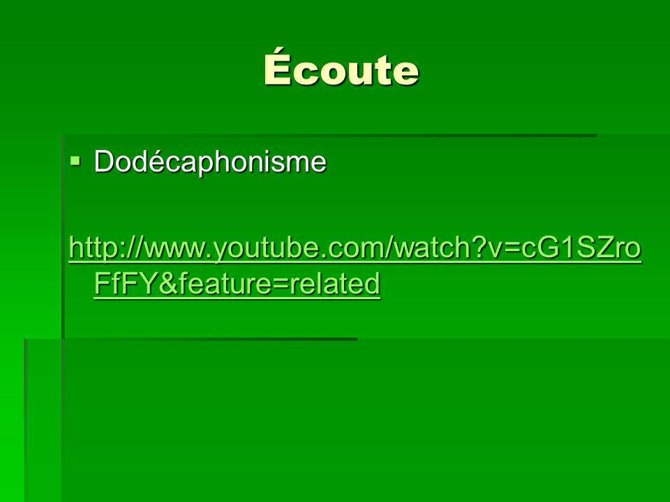 Écoute Dodécaphonisme Dodécaphonisme http://www.youtube.com/watch?v=cG1SZro FfFY&feature=related http://www.youtube.com/watch?v=cG1SZro FfFY&feature=related