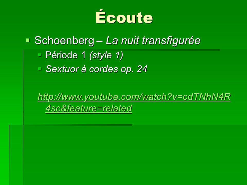 Écoute Schoenberg – La nuit transfigurée Schoenberg – La nuit transfigurée Période 1 (style 1) Période 1 (style 1) Sextuor à cordes op.